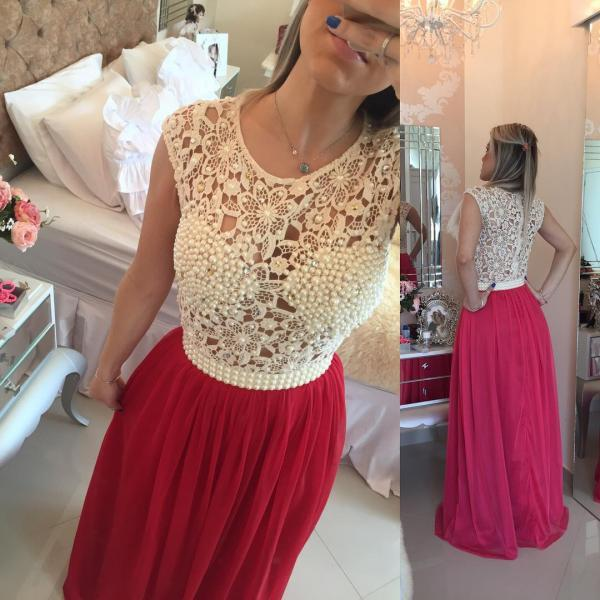 Elegant Prom Dress,Lace Evening Dress,Evening Dress,red Evening Dress, Evening Dress,Long Evening Dress,Evening Gowns,Evening Dresses,Pearls Evening Dress