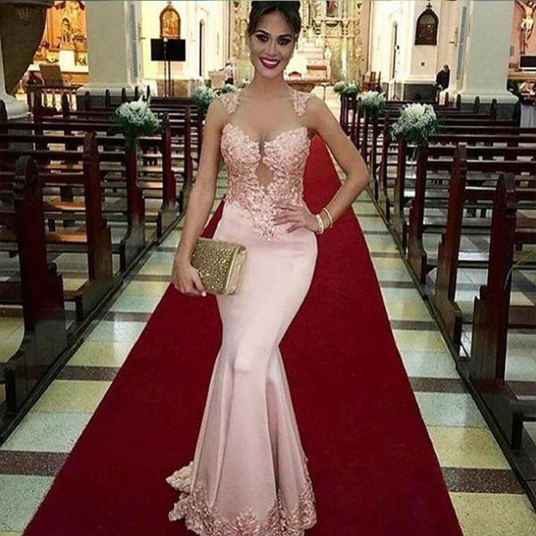 Lace Mermaid Prom Dresses,Long Pink Satin Prom Dress,Sexy Sheer O neck Appliques Party Gown Prom Dresses