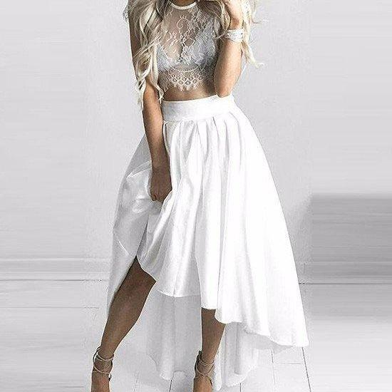 Unique Two Pieces Lace Formal Dress, White Evening Dress, Sexy High Low Prom Dress, Short Prom Dress, White Prom Dress, Prom Dress