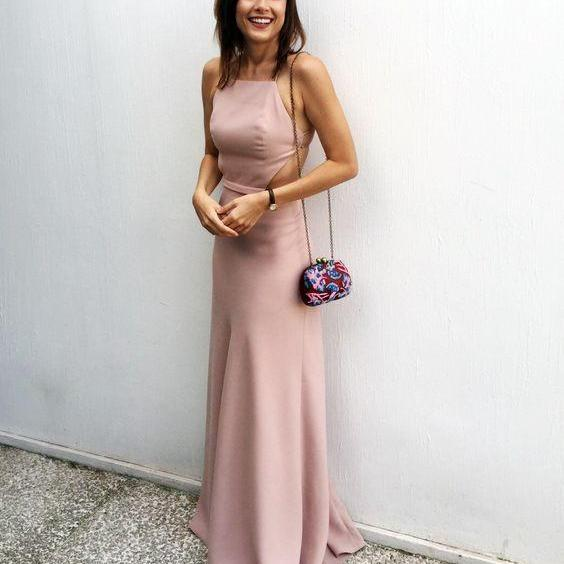 Blush Pink Formal Dresses,Prom Dress,Simple Prom Dress,Chiffon Prom Dress,Simple Evening Gowns,Cheap Party Dress,Elegant Prom Dresses,Formal Gowns For Teens