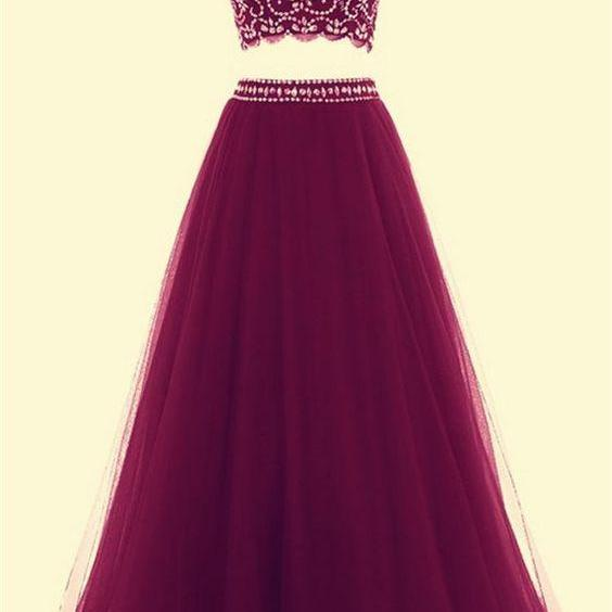2 Piece Prom Gown,Two Piece Formal Dresses,Burgundy Evening Gowns,2 Pieces Party Dresses,Burgundy Evening Gowns,Formal Dress For Teens