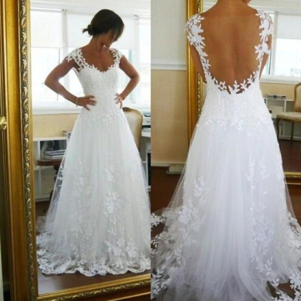 Floral Lace Plunge V Cap Sleeves Floor Length Tulle Wedding Dress Featuring Open Back