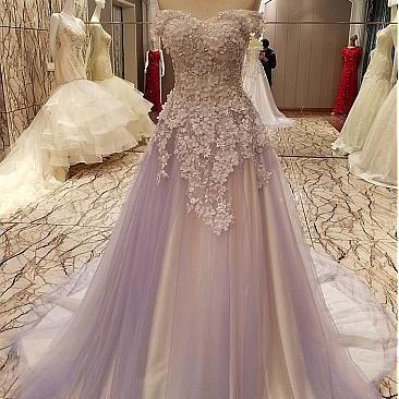 Charming Off Shoulder Prom Dress, Sexy Tulle Beaded Appliques Prom Dresses, Long Evening Dress, Formal Gown