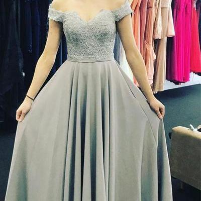 Elegant A-Line Prom Dresses,Off-The-Shoulder Prom Dress,Floor Length Prom/Evening Dress With Appliques