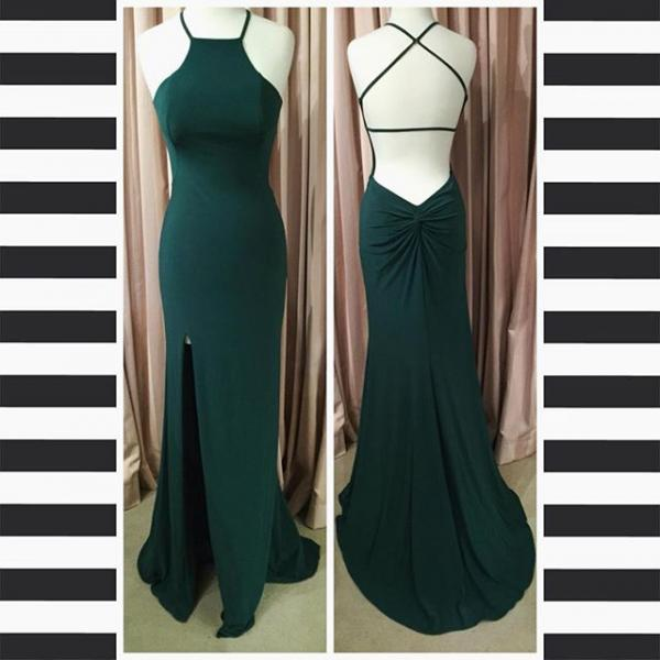 Open Back sheath Formal Dress,long Chiffon Prom Dresses
