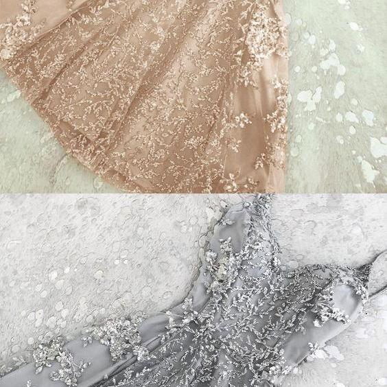 A-Line Spaghetti Straps Homecoming Dress,Champagne Homecoming Dresses,Grey Short Prom Homecoming Dress with Beading,Prom Dress, Graduation Dress