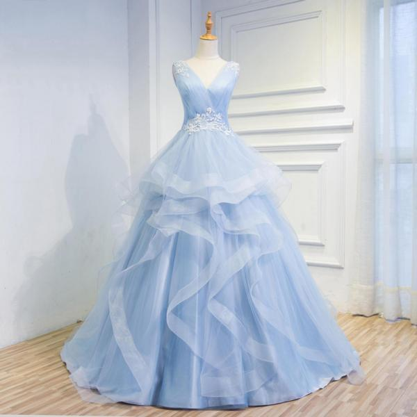 Cheap wedding dress,Fairy Tale Sky Blue Tulle V Neck Wedding Dresses,Appliques Sleeveless Lace up Back Tiered Bridal Gowns