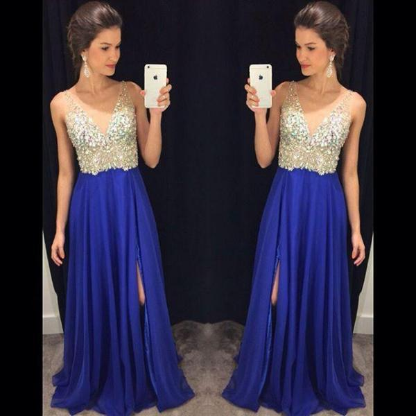 Royal Blue Prom Dress,Sexy Prom Dress,Royal Blue Prom Dresses,Silver Beaded Formal Gown,Beading Prom Dresses,Evening Gowns,Chiffon Formal Gown For Senior Teens