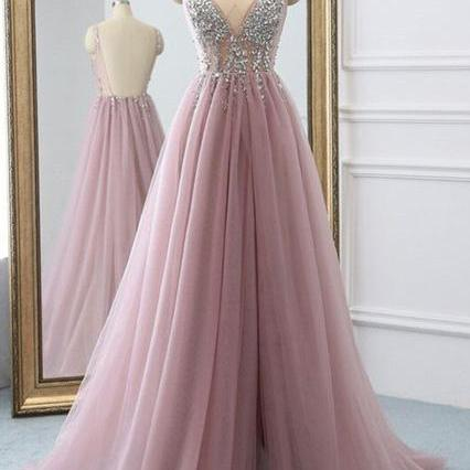 Sexy Slit Beading Tulle Prom Dresses, Backless V Neck Long Evening Dresses, Sleeveless Party Dresses, Cheap Formal Dresses, Prom Dresses