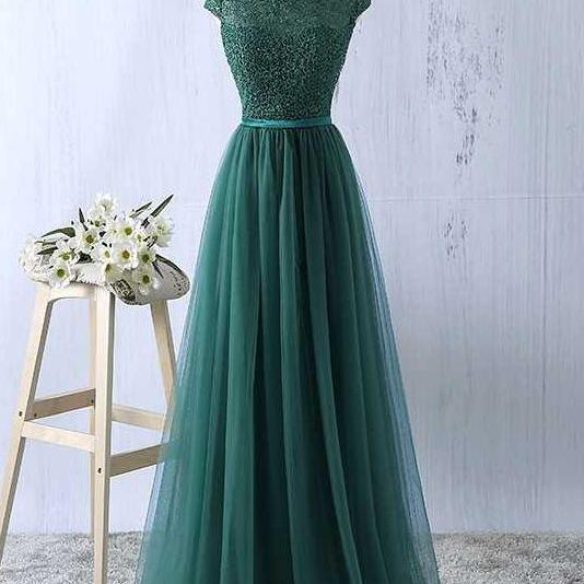 Elegant A Line Tulle Green Prom Dresses, Cap Sleeve Round Neck Evening Dresses, Floor Length Long Dance Dresses, Prom Dresses