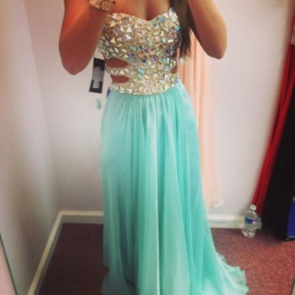 Custom Made Blue A-Line Strapless Rhinestone Long Prom Dresses, Evening Dresses, Formal Dresses