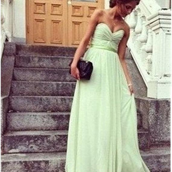 Custom Made A Line Sweetheart Neck Sage Long Prom Dresses , Long Bridesmaid Dresses, Wedding Party Dresses, Dresses for Wedding Party