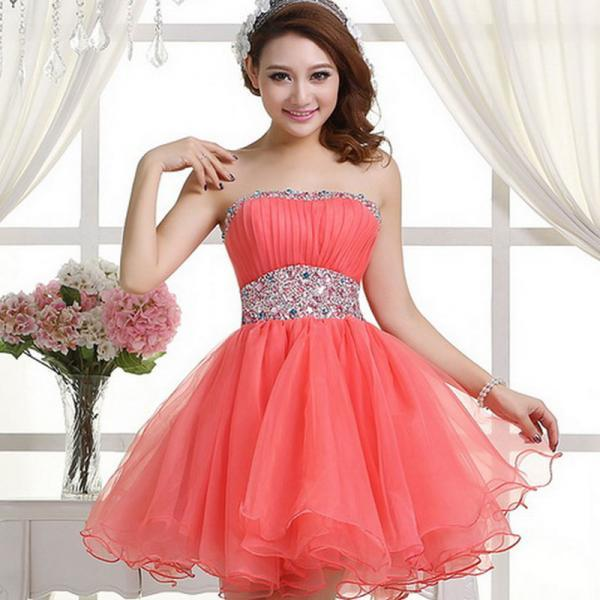 Cute Handmade Coral/Watermelon Ball Gown Short Homecoming Dresses 2016, Homecoming Dresses, High Quality Graduation Dresses,girls party dress, sexy prom Dresses,homecoming dress , 2016 cheap short sexy prom dress .