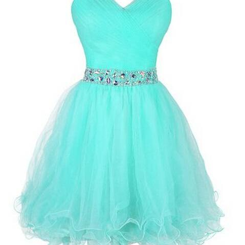 Cute Short Tulle Sweetheart Beaded Waist Ball Gown Short Prom Dresses, Graduation Dresses, Homecoming Dresses, Formal Dresses,girls party dress, sexy prom Dresses,homecoming dress , 2016 cheap short sexy prom dress .