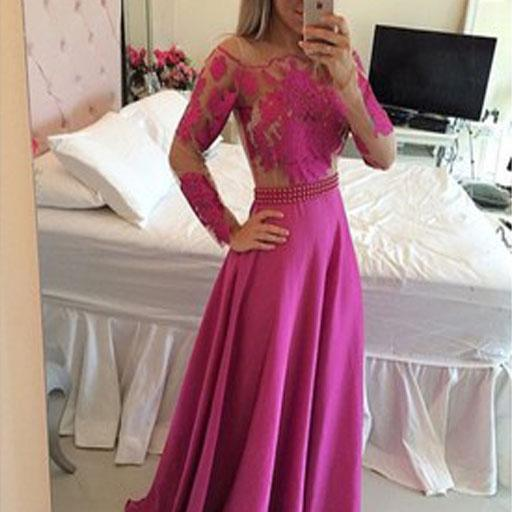 2017 Custom Made Long Sleeves Prom Dress,A-Line Prom Dresses,Appliques Prom Dress,Sexy Beading Belt Prom Dress,Formal Gowns Plus Size, Cocktail Dresses, formal dresses,Wedding guests dresses