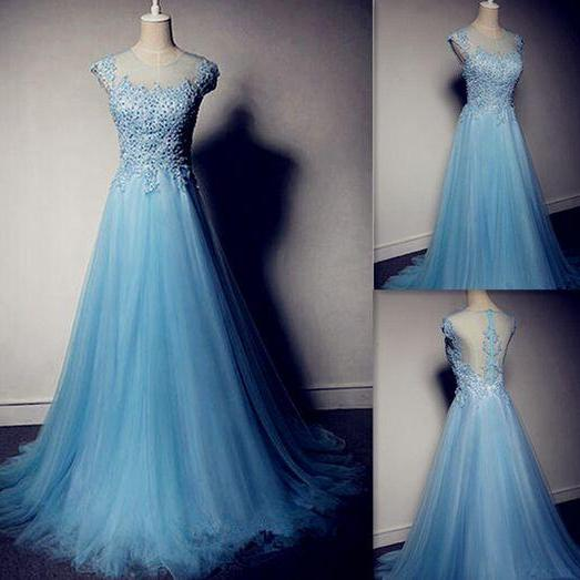 2017 Custom Made High Quality Prom Dresses,Tulle Prom Dress,Beading Prom Dress,O-Neck Prom Dress, Charming Prom Dresses,A-Line Evening Dresses, Prom Dresses,Long Beading Prom Dresses, Cocktail Dresses, formal dresses,Wedding guests dresses