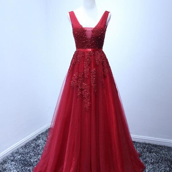 2017 Custom Made High Quality Prom Dress,Tulle Prom Dress,Appliques Prom Dress,Appliques Prom Dress, Charming Prom Dresses,A-Line Evening Dresses, Prom Dresses,Long Beading Prom Dresses, Cocktail Dresses, formal dresses,Wedding guests dresses
