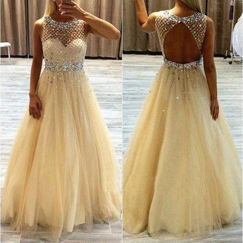 2016 Custom Charming Tulle Yellow Prom Dress,Beading Sleeveless Evening Dress,See Through Prom Dress,cheap Sexy Backless Prom Dresses,Beading Evening Dress, Prom Dress, formal dresses,Wedding guests dresses