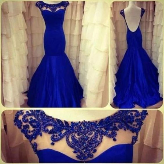 New Sexy Backless Mermaid Royal Blue Evening Gown Ball Gown Wedding Pageant Party Prom Dress,cheap Sexy Backless Prom Dresses,Beading Evening Dress, Prom Dress, formal dresses,Wedding guests dresses
