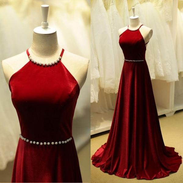 Sexy red foramal dresses,A line Sleeveless Backless Red Evening Dresses Burgundy Long Prom Dresses, simple cheap chiffon formal dress,Sexy Backless Prom Dress , prom Gowns Plus Size, Cocktail Dresses, formal dresses,Wedding guests dresses