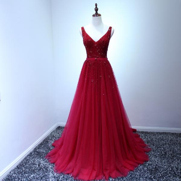 Sexy tulle formal dresses,A line Sleeveless V neck Backless Red Evening Dresses Burgundy Long Prom Dresses, Sexy Backless formal Dress , prom Gowns Plus Size, Cocktail Dresses, formal dresses,Wedding guests dresses