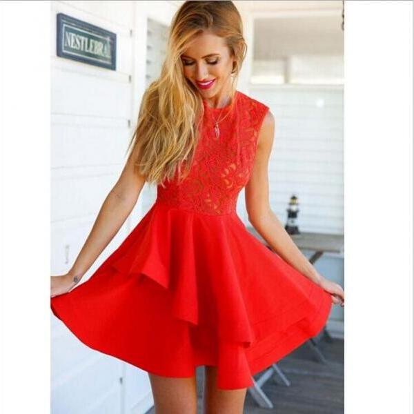 Lace Dress,sexy Red Sleeve..