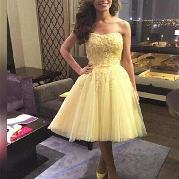 Junior Tulle Homecoming Dress,Yellow Homecoming Dress ,Sweet 16 Dress For Teens,CuteHomecoming Dress,, Evening Dress, Homecoming Dresses ,Custom Homecoming Dresses