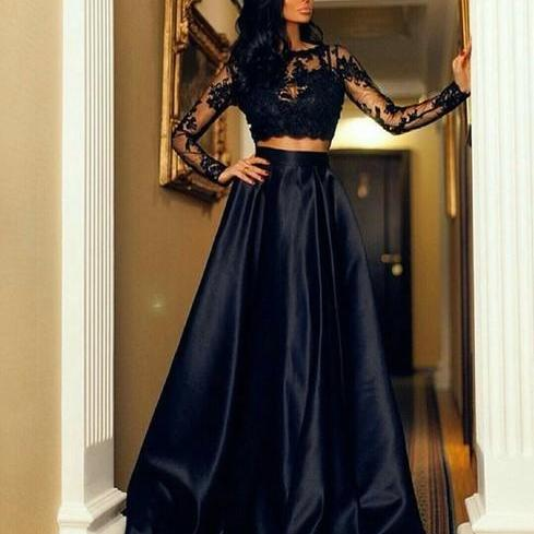 Formal Dress, Fashion Black Lace Long Sleeve Prom Dresses, Two Piece Prom Dresses, Floor Length Formal Dresses, A Line Satin Long Evening Dress, Party Dresses, Prom Dress for Teens,Formal Dress
