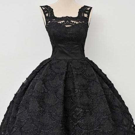 Homecoming Dress, Vintage Ball Gown Square Sleeveless Black Lace Homecoming Dresses, Pageant Dress ,Elegant Evening Dress,Party Dress,Wedding Guest Prom Gowns, Formal Occasion Dresses,Formal Dress