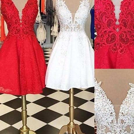 Homecoming Dress, Fashion V-neck Sleeveless White Lace Short Homecoming Dress With Beads,Elegant Evening Dress,Party Dress,Wedding Guest Prom Gowns, Formal Occasion Dresses,Formal Dress