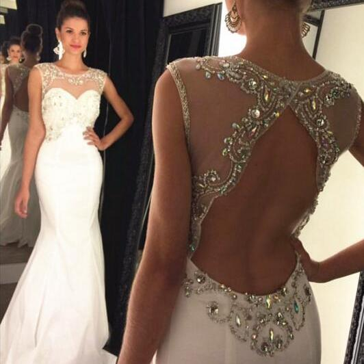 Prom Dress ,Fashion New Arrival Sexy Prom Dress Prom Dresses Beaded Mermaid Evening Dress with Open Back,Party Dress,Wedding Guest Prom Gowns, Formal Occasion Dresses,Formal Dress