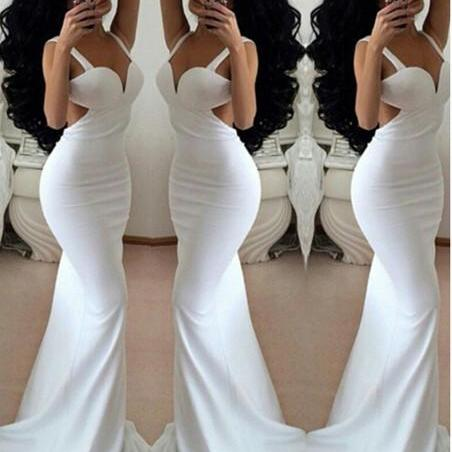 Prom Dress, Sexy Mermaid Sheath Prom Dress,White Prom Dresses,Long Evening Dress,Wedding Guest Prom Gowns, Formal Occasion Dresses,Formal Dress