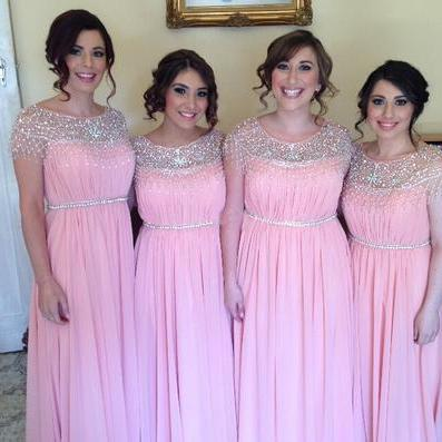 Beads Cap Sleeves Long Pink Chiffon Bridesmaid Dresses,Wedding Guest Prom Gowns, Formal Occasion Dresses,Formal Dress