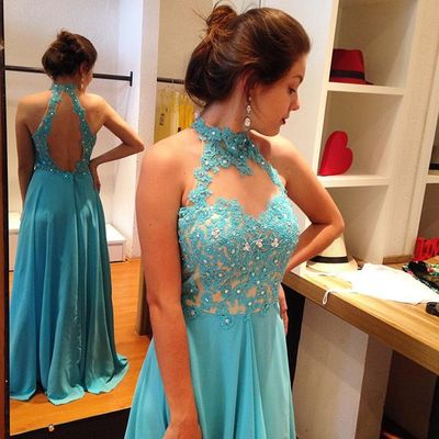 Elegant Long Blue Chiffon Prom Dress with Open Back,Wedding Guest Prom Gowns, Formal Occasion Dresses,Formal Dress