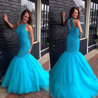 Luxury beads Gorgeous Mermaid Long Blue Prom Dress Evening Dress with Beads Open Back,Wedding Guest Prom Gowns, Formal Occasion Dresses,Formal Dress