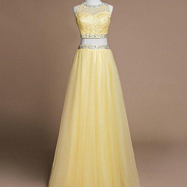 Yellow tulle two pieces beading sequins sleevless O-neck A-line long prom dresses, evening dress,Wedding Guest Prom Gowns, Formal Occasion Dresses,Formal Dress