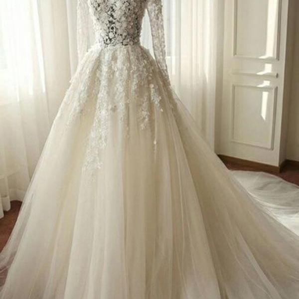 Wedding Dress, White chiffon lace long sleeves see-through A-line long dresses,wedding dresses,White Long Wedding Dresses,tulle Bridal Dresses,Wedding Guest Prom Gowns, Formal Occasion Dresses,Formal Dress