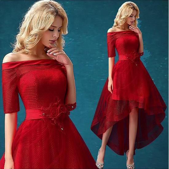 Red Satin Off Shoulder Long Mermaid Guest Wedding Dress With Open ...