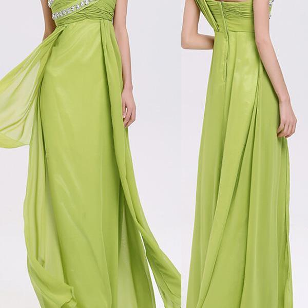 Prom Dress,Sexy Elegant Prom Dresses,Elegant Chiffon Evening Dress A-Line One-Shoulder Evening Dress Long Prom Dress