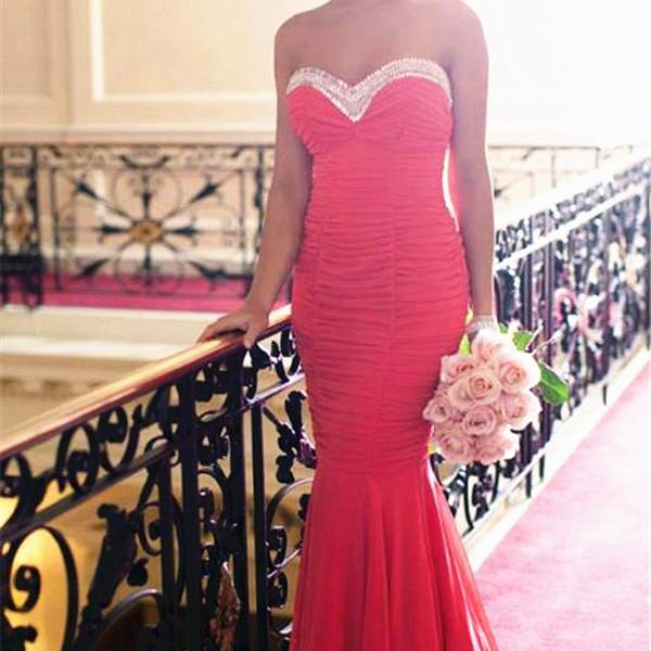 Sweetheart Red Chiffon Prom Dress,Mermaid Long Prom Dresses,High Quality Graduation Dresses,Wedding Guest Prom Gowns, Formal Occasion Dresses,Formal Dress