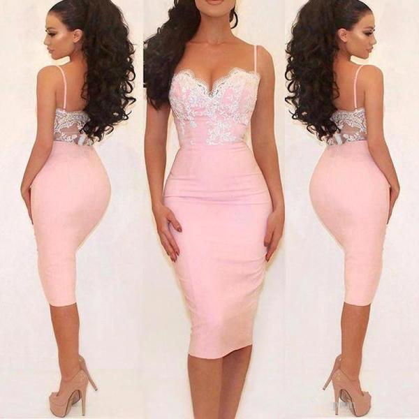 Spaghetti Straps Knee Length Prom Dress,Pink Tight Prom Dresses,High Quality Graduation Dresses,Wedding Guest Prom Gowns, Formal Occasion Dresses,Formal Dress
