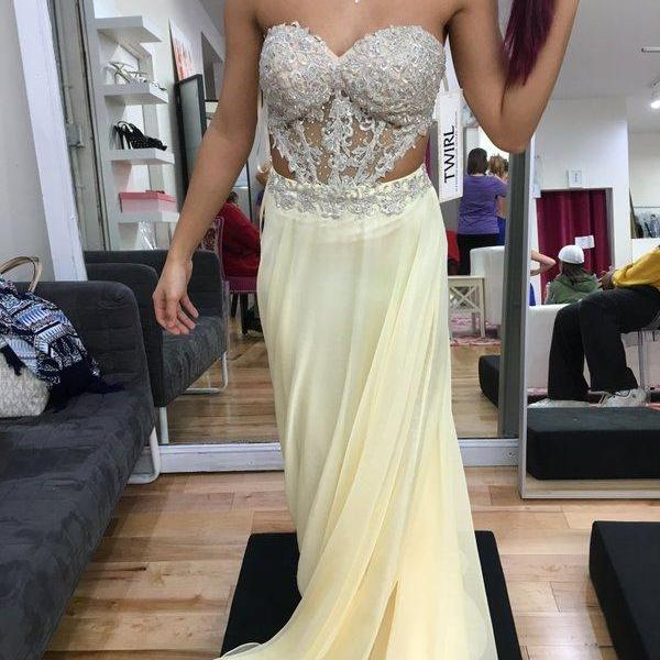 Light Yellow Prom Dress,Sweetheart Prom Dresses,Evening Dress,High Quality Graduation Dresses,Wedding Guest Prom Gowns, Formal Occasion Dresses,Formal Dress