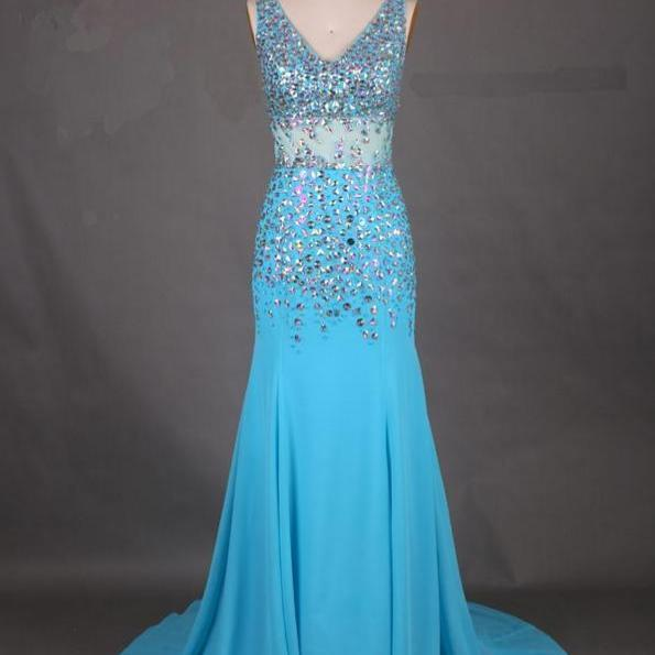 Sexy Blue V-Neck Prom Dress,Beaded Mermaid Prom Dresses,Evening Dress,High Quality Graduation Dresses,Wedding Guest Prom Gowns, Formal Occasion Dresses,Formal Dress