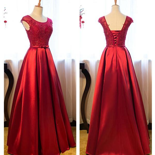 Red Bandage Prom Dress,A-Line Cap Sleeve Prom Dresses,High Quality Graduation Dresses,Wedding Guest Prom Gowns, Formal Occasion Dresses,Formal Dress